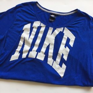 Nike Electric Blue Jersey-Lettered Top